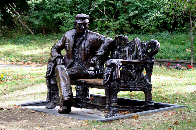"This bronze likeness of Spike Milligan was recently unveiled in his former home of Finchley. ""It should have a little mechanism in it that you sit down and it farts,"" said fellow comedian Terry Gilliam. Photo by Terry Moran in the Londonist Flickr pool."