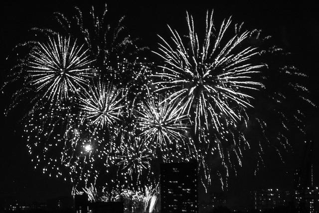 Fireworks over high-rises
