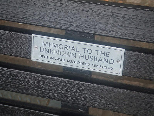 Not a famous person, but perhaps London's most famous bench plaque, on the South Bank. Image by M@.