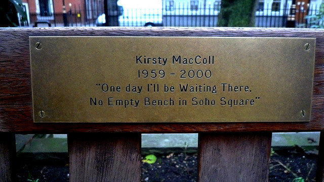 Kirsty MacColl's tragically short life is commemorated with this plaque in Soho Square, referencing one of her most famous songs. Image by BLTP Photo in the Londonist Flickr pool.