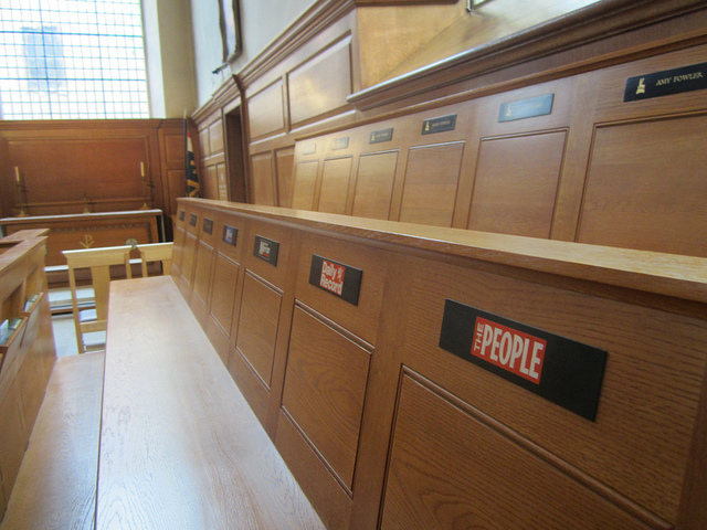Slightly off-topic, but we were tickled to find that the various newspapers have reserved pews inside St Bride's on Fleet Street. Image by M@.