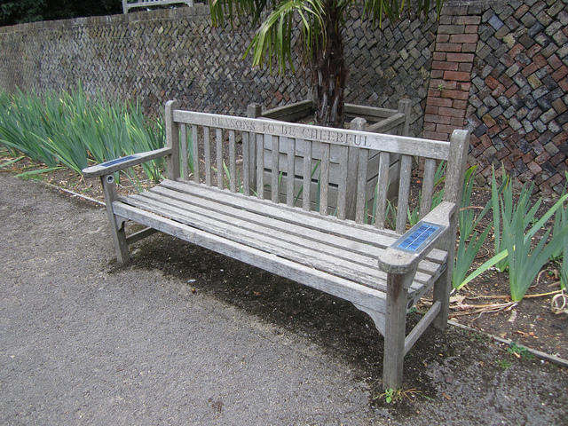 The 'Reasons to be Cheerful Sonic Vista Bench' can be found in the Pembroke Lodge area of Richmond Park, overlooking sweeping views of the Thames. It commemorates musician Ian Dury. Solar panels in the arms power MP3 players stocked with Dury's music. Sadly, they've been broken on our last few visits, but a fix is in the works. Image by M@.