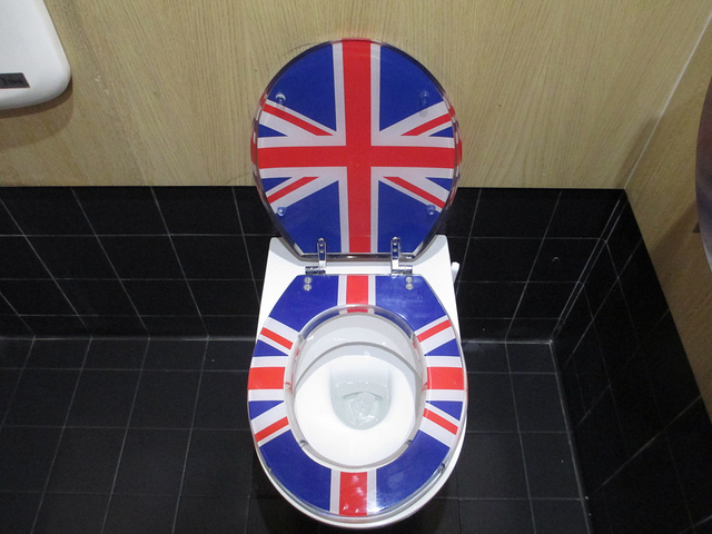 The Jubiloo on the South Bank comes with many patriotic flourishes, such as the Union Cack toilets and pictures of the Queen close to the throne. Image by M@.