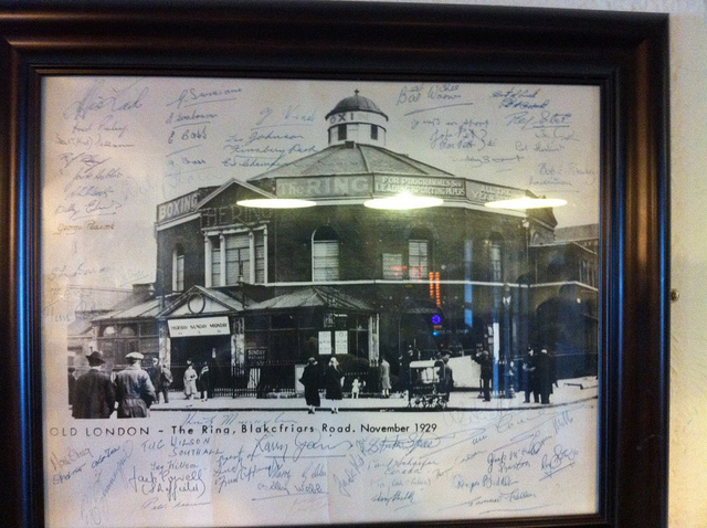 a photo of the ring sporting venue signed by boxers of the day which we found in a random pub in gillingham