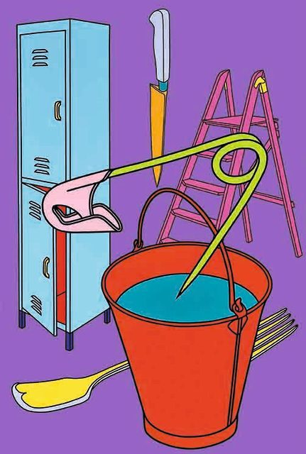 A work by Michael Craig-Martin in his signature style. He is one of the well known artists on show here. Copyright the artist.