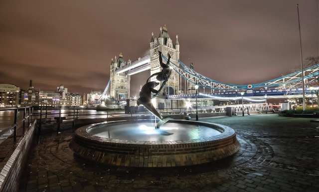Girl and Dolphin statue by David Wynne near Tower Bridge, one of London's most photographed statues if Londonist's Flickr pool is anything to go by. Photo: Dan Raven