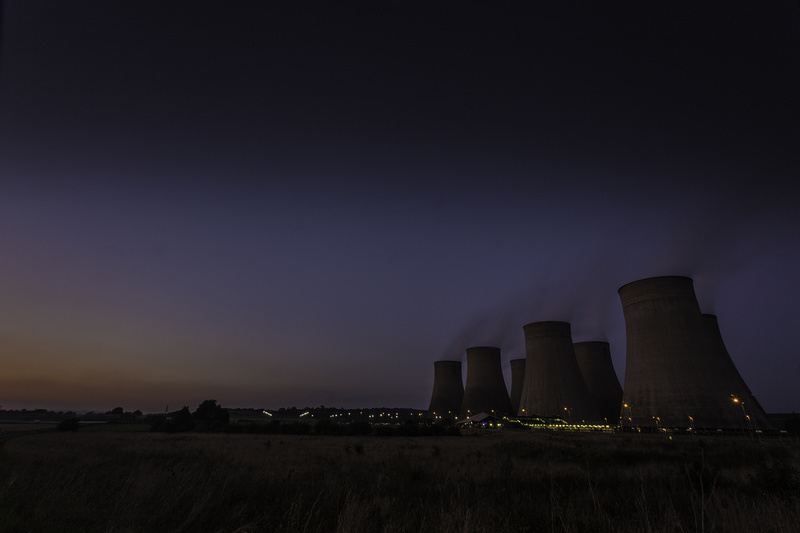 I couldn't resist one last long exposure, know that if I took it very wide angle, I'd get this leaning effect. Ratcliff cooling towers and East Midlands Parkway station (just for scale!)