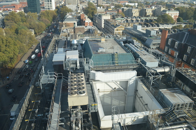 Looking down onto the roof of neighbouring Wellcome Collection. Note the old lightwell, no longer used.