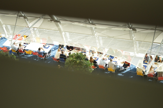Spying on the staff canteen from a roof space.