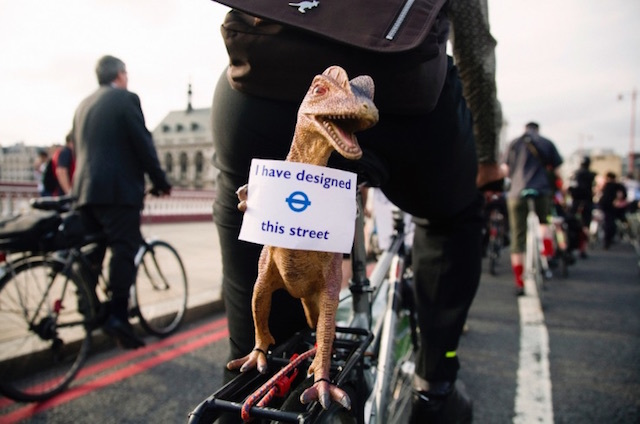 This dino was protesting against the infrastructure of Blackfriars Bridge in 2011. Photo by Edward Scoble