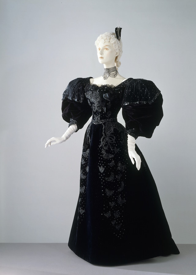 Will you wear a frock? Evening dress and bodice made by Stern Bros, New York, c.1894 (c) V&A