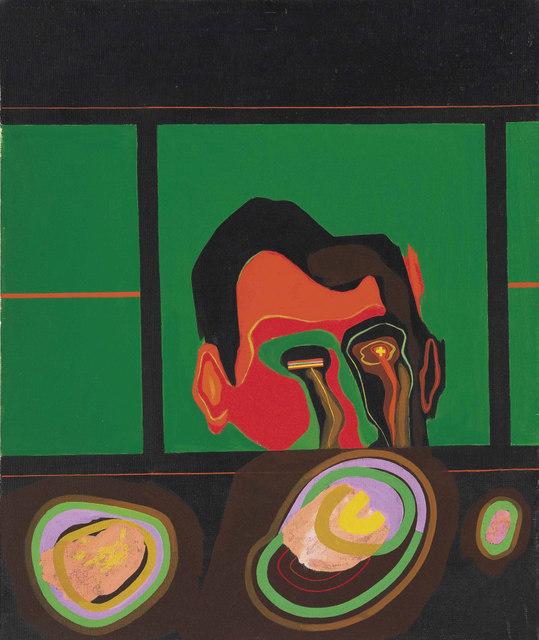 Allen Jones RA  Interesting Journey, 1962  Oil on canvas, 61 x 51cm  LONDON, PRIVATE COLLECTION   c. Allen Jones  Photo: Private Collection