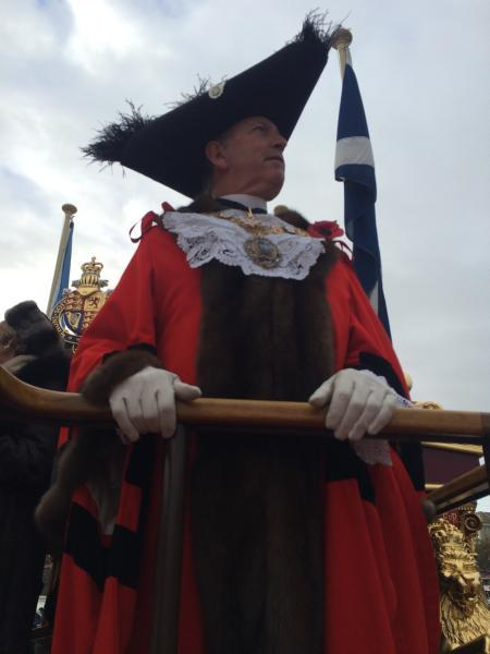 The new Lord Mayor Alan Yarrow, on the river heading to his swearing in ceremony. Photo by Simon McCarthy