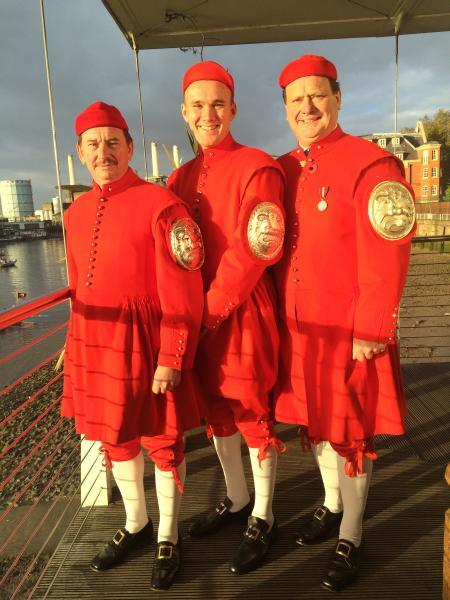 L-R: Jeremy McCarthy, Harry McCarthy and Simon McCarthy before the procession. They're all all winners of the historic Doggetts Coat and Badge rowing race. Photo from Simon McCarthy