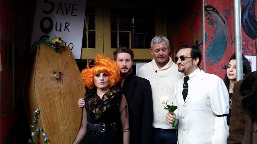 "(l-r) Performer Abigail O'Neill, producer Alexander Parsonage, Howard Raymond (son of the late ""King of Soho"" Paul Raymond) and singer Tim Arnold aka The Soho Hobo"