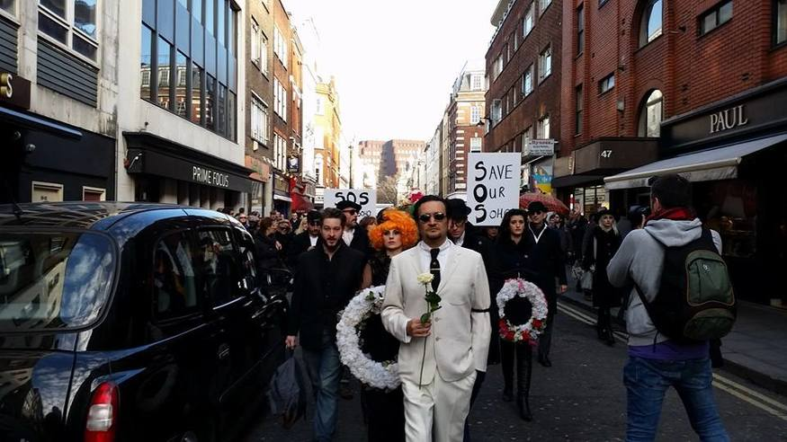 The protest travelled from Soho Square to Madame Jojo's.