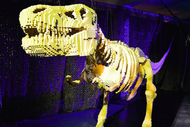 The Lego T-rex is from the Art of the Brick at Truman Brewery. Photo by M@