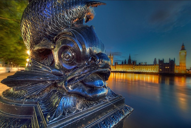 Lamp on the Thames. See something fishy? Yes, it's a sturgeon, but they're still referred to as Dolphin Lamps. Photo:Mike Murphy