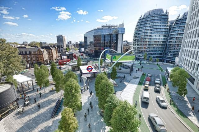 Artist's impression of the new public space at Old Street.