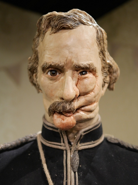 A stitched up face of a Crimean war hussar after a musketball injury. Image courtesy and copyright of Eleanor Crook
