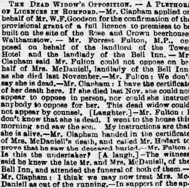 Licensing hearing from 1890, courtesy of Chelmsford Chronicle, 10 October 1890. Copyright The British Library Board.
