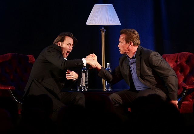 Arnold Schwarzenegger (right) in conversation with host Jonathan Ross during 'An Evening with Arnold Schwarzenegger', at the Lancaster London Hotel in London. PRESS ASSOCIATION Photo. Picture date: Saturday November 15, 2014. Photo credit should read: Yui Mok/PA Wire