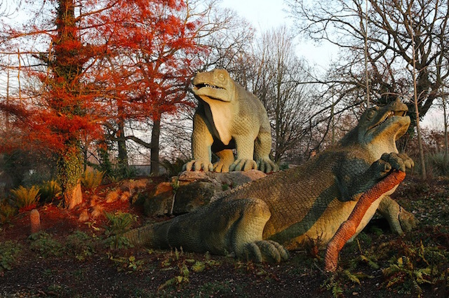 The Victorian dinosaur sculptures in Crystal Palace Park are the oldest dinosaur sculptures in the world. Photo by Steve Reed