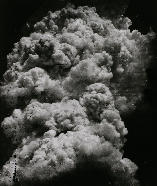 This image of a mushroom cloud was taken minutes after the Hiroshima blast. Courtesy Tokyo Metropolitan Museum of Photography.