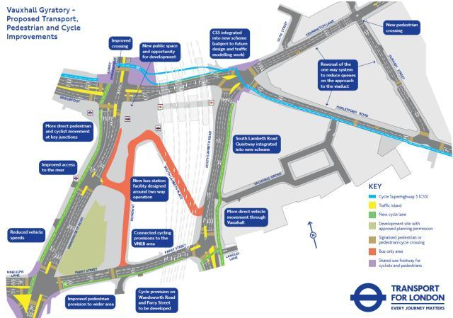 Planned changes to the road layout at Vauxhall.