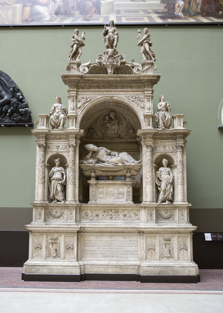 There are casts of many grand tombs taken from Italian churches and cathedrals. (c) Victoria and Albert Museum