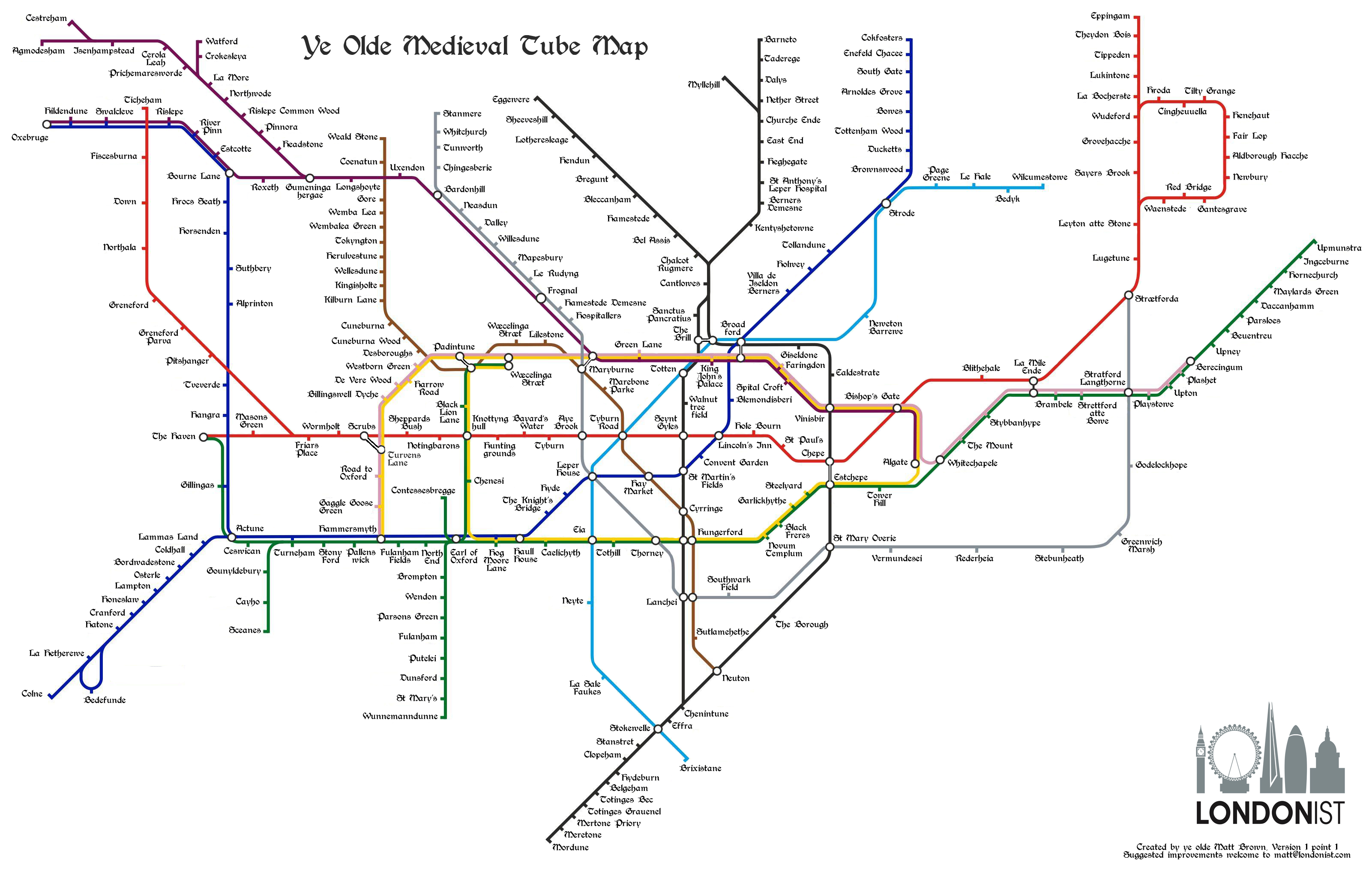 This Charming Medieval Tube Map Shows Stations With The Names Of Big  Voucher Click Here