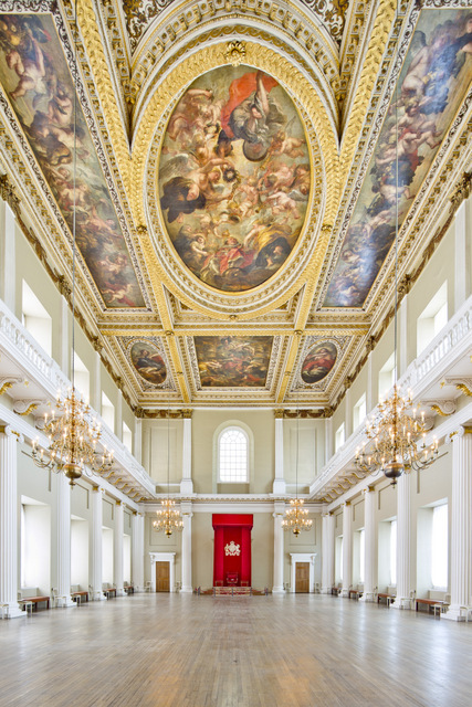 The canvases were painted by Sir Peter Paul Rubens and installed in the hall in 1636. <br />The three main canvasses depict The Union of the Crowns, The Apotheosis of James I and The Peaceful Reign of James I. The only surviving in-situ ceiling painting of Peter Paul Rubens is also one of the most famous from a golden age of painting.<br />Two canvasses measure 28x20ft and two others 40x10ft.<br />The ceiling was one of Charles I's last sights before he lost his head. The King was executed on a scaffold outside in 1649.