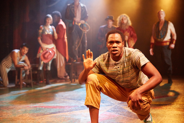Lionboy by Complicite at the Tricycle Theatre  Directed by: Clive Mendus and James Yeatman Design: Jon Bausor Co-Designer: Jean Chan Original Lighting Designer: Tim Mascall Lighting Designer (Revival): Christopher Nairne Sound Designer: Tom Gibbons Associate Sound Designer: Pete Malkin Movement: Clive Mendus and Kasia Zaremba-Byrne Based on the original concept and production by: Annabel Arden  Cast: Femi Elufowoju, jr; Victoria Gould; Martins Imhangbe; Lisa Kerr; Angel Lopez-Silva; Eric Mallett; Clive Mendus; Dan Milne and Stephen Hiscock (music and percussion).