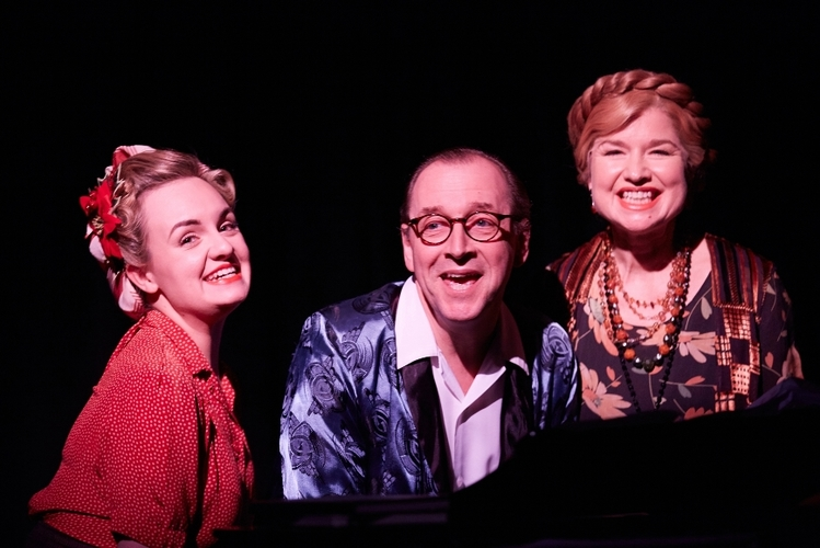 Noël Coward's Christmas Spirits  at St James Theatre Written and Directed by Nick Hutchison  Starring Stefan Bednarczyk, Issy van Randwyck and Charlotte Wakefield Musical Direction by Stefan Bednarczyk Designed by Annie Gosney