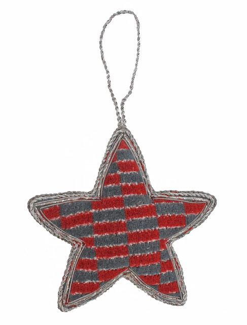Moquette Christmas tree decorations, £9.95. Made using Routemaster and New Routemaster moquette, the decorations are available in stars and hearts.