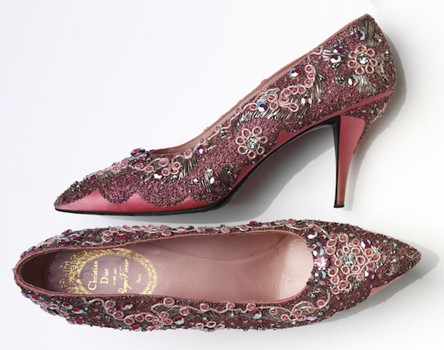 A beaded silk and leather evening shoe, created by Roger Vivier for Christian Dior. © Victoria and Albert Museum, London