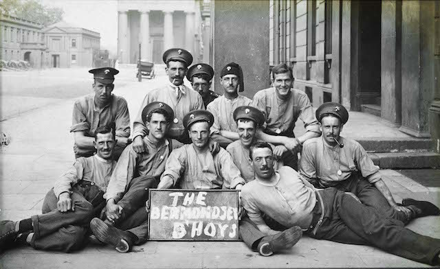 The 'Bermondsey B'hoys' from the 2nd Grenadier Guards appear at ease for this informal photograph taken inside their base at Wellington Barracks sometime during 1914 or 1915.