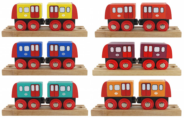 Wooden train, £8.99. There is one train for each of the London Underground lines, each comes with two carriages.