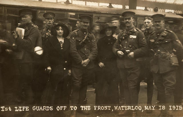 Soldiers from the 1st Life Guards with their wives at the platform of Waterloo Station, before departing for the front, May 18th 1915.