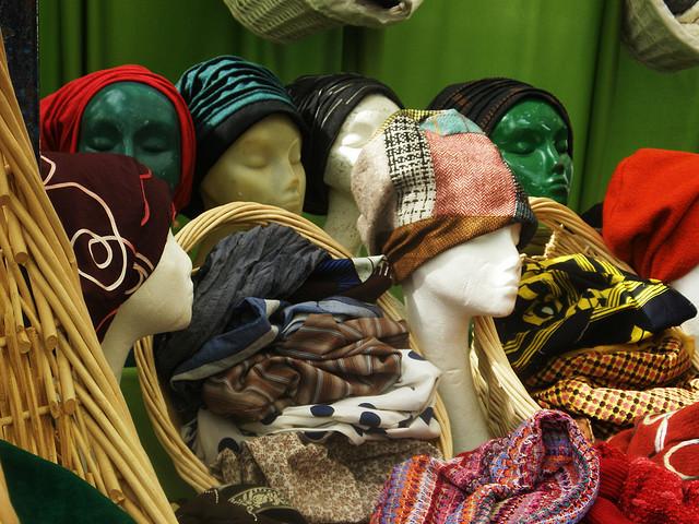 Hats in Camden Market, by Stephanie Sadler