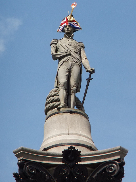 Lord Nelson received a new hat as part of a London art installation back in 2012. Photo by New Hat 1