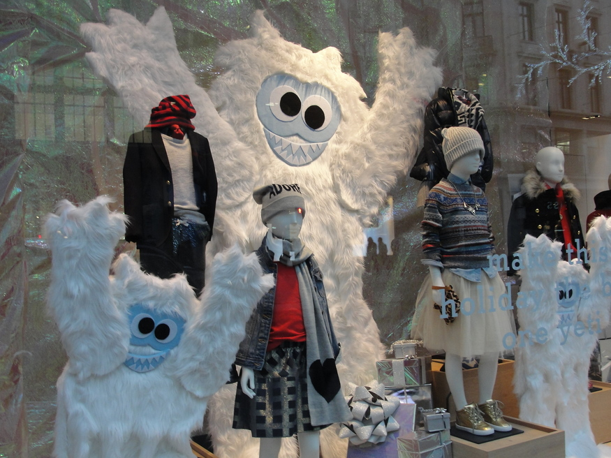 J.Crew goes with funky yetis and rather freaky-looking kids.