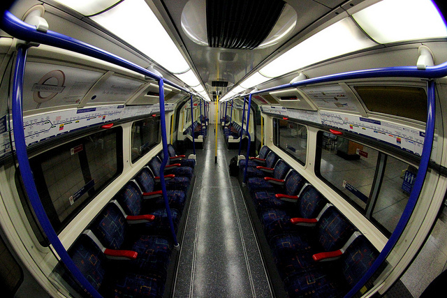 Photo shows an empty tube carriage