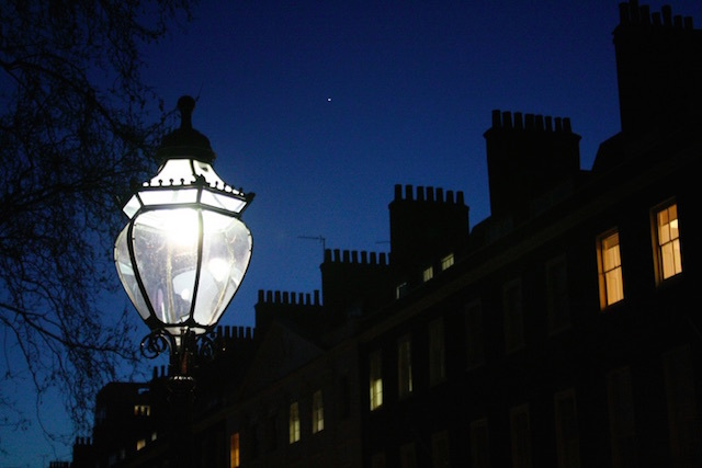 The chimneys of Bedford Square silhouetted at dusk. Photo: Paul Mison