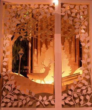 Belgraves hotel is a cut above the rest with a paper display created by artist Terry Jackson.