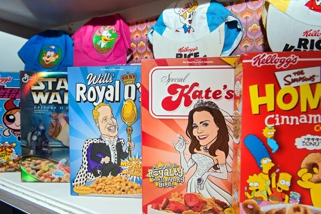 Limited edition Royal Wedding cereal boxes at Cereal Killer Café