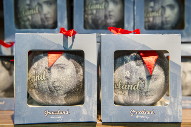 New merchandise: Christmas tree baubles in the gift shop.