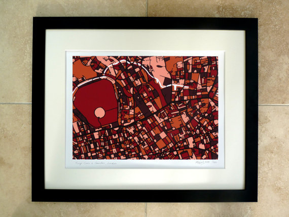 Framed version of the Camden and King's Cross map