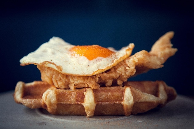 Fried Chicken & Egg, Croissant Waffle