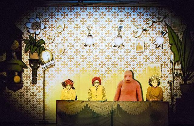 The cast of Golem: Annie (Esme Appleton), Robert (Shamira Turner), Golem and Granny (Rose Robinson)